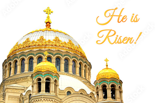 Holiday card for easter with domes of naval cathedral of saint holiday card for easter with domes of naval cathedral of saint nicholas the wonderworker in kronstadt m4hsunfo