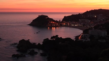 Wall Mural - Sunset landscape of Tossa de Mar village, Costa Brava. Spain.