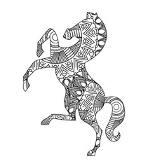 drawing zentangle for horse adult coloring page vector illustration