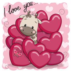 Cute Cartoon Giraffe in hearts