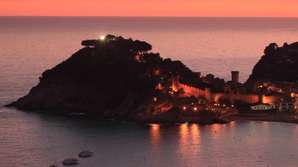 Fotomurales - Sunset landscape of Tossa de Mar village, Costa Brava. Spain.
