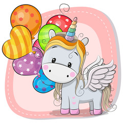 Cute Cartoon Unicorn with balloon