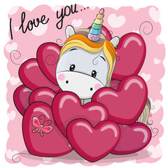 Cute Cartoon Unicorn in hearts