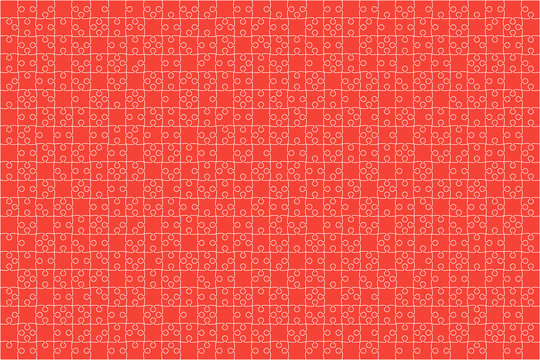 Red Puzzles Pieces Jigsaw - Vector Background.
