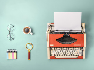 Red typewriter and  coffee (Square format)