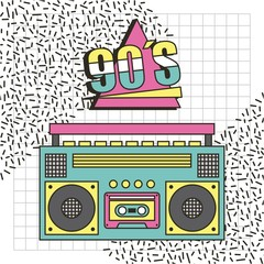 tape recorder 90s music memphis style background vector illustration