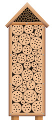 Bug house - wooden insect hotel tower with roof - isolated vector illustration on white background.