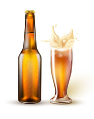 Vector realistic beer bottle, splashing from glass