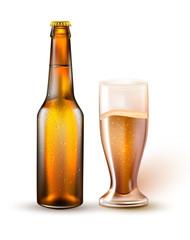 Vector realistic beer bottle, glass mockup 3d