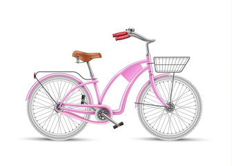 Vector girl pink bicycle realistic 3d isolated