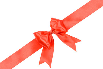 Gift card concept - shiny red satin ribbon with bow isolated on white background
