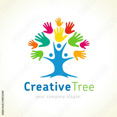 """Creative tree colored hands logo template. People tree unity emblem for kids education. Family ..."