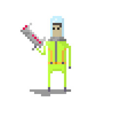Pixel character space space traveler with blaster for games and websites