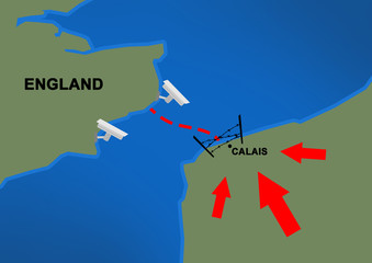 2d Illustration explaining situation in the French city Calais with refugee imigrant problem/crisis and England/Britain spending 50 million euros for security measures in France - Calais