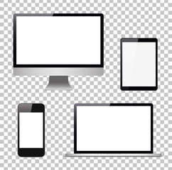 Set computer, laptop, tablet, phone on a isolated background. Vector image