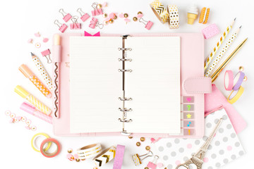 Planner mockup and Stationary. Flat lay, top view