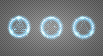 A set of fireballs. Abstract round frame with electric shock. Vector illustration.