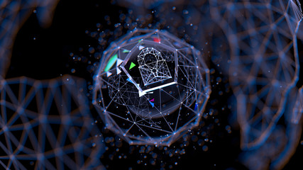Abstract crypto cyber security technology on global network background. Digital theme. 3D illustration - fototapety na wymiar