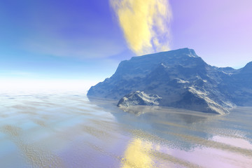 Volcano, a rocky landscape, yellow smoke on the crater, reflection in the sea and a cloudy sky.