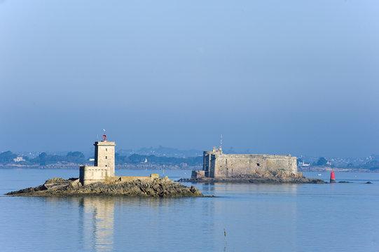 Die Ile Louët und das Chateau du Taureau in der Bucht von Morlaix, Finistere, Bretagne, Frankreich, Europa