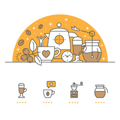 Coffee banner and icons with White Background