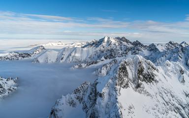Sunny day in winter snowy Tatra mountains in Slovakia