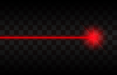Abstract red laser beams. Isolated on transparent black background. Vector illustration, eps 10 Wall mural