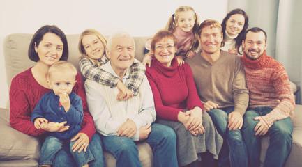 Family members making family photo