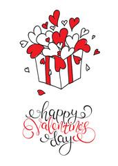 Box with hearts. Happy Valentine's Day