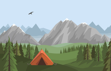 Vector flat landscape with summer mountains, green forest and hills and orange tent - camping, traveling, adventures concept