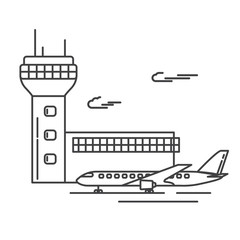 airport and aircraft the terminal the building with a dispatching tower with the radar. The plane is passenger jet trip on runway.Lineart flat style a vecto infographic elements templates.