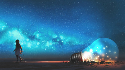 Self adhesive Wall Murals Grandfailure boy pulled the big bulb half buried in the ground against night sky with stars and space dust, digital art style, illustraation painting
