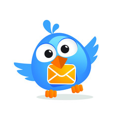 Cute cartoon blue messenger bird with letter envelope