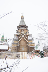 Moscow, Russia - January, 18, 2018: Church of St. Nicholas in the Kremlin in Izmaylovo in winter during a snowfall. A beautiful place for walking tourists.