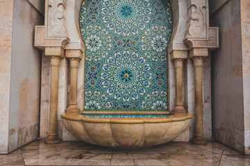 Hassan II Mosque fountain made of mosaic tile work in Casablanca, Morocco