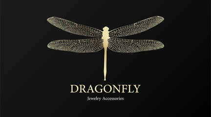 Vector logotype for jewelry boutique, store, shop. Elegant gold dragonfly silhouette at black background. Outline of dragonfly. Can be used for postcard, print, logo, poster, label.
