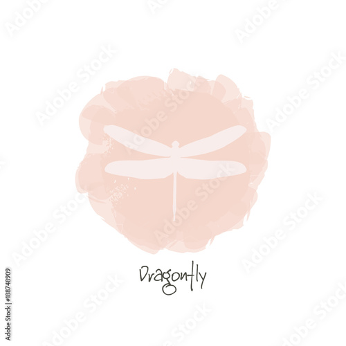 watercolor pink background with silhouette dragonfly dragonfly logo