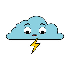 weather cloud rainy with ray kawaii character vector illustration design