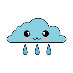 weather cloud rainy kawaii character vector illustration design