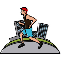 Man running at city icon vector illustration graphic design