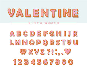 Cookie hand drawn decorative font. Cartoon sweet ABC letters and numbers. Perfect for Valentine's day cards, cute design for girls.