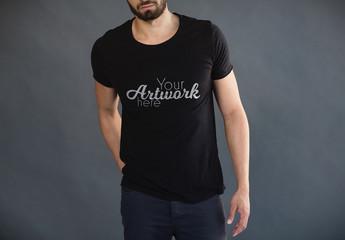 Man in Black T-Shirt Mockup 2
