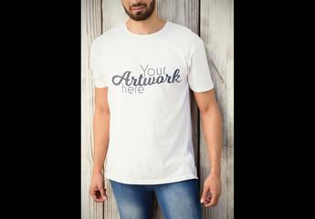 Man in White T-Shirt Mockup 4