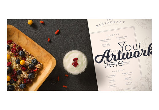 Menu Mockup with Fruit and Granola 2