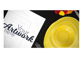 Top View Menu Mockup with Simple Place Setting 3