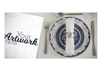 Top View Menu Mockup with Fancy Place Setting 3