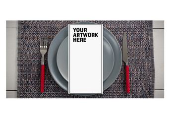 Top View Menu Mockup with Simple Place Setting 5