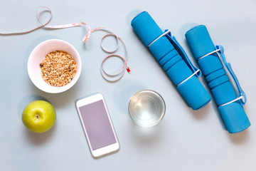 Smartphone app for sport workout, home training, easy healthy breakfast and water