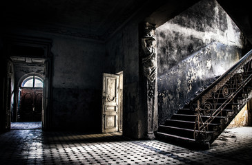 Old abandoned house interior.