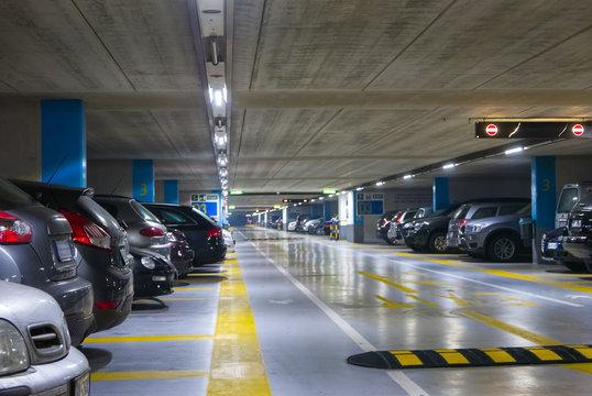 Large multi-storey underground car parking garage